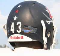 The anti-bullying sticker on the back of each helmet is a reminder of the team's commitment. (Photo by Tammy L. Lane)
