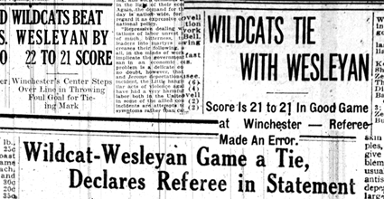 A sampling of newspaper headlines from February 1918 in the confusing aftermath of the Kentucky and Kentucky Wesleyan tie game. (Graphic by James Pennington)