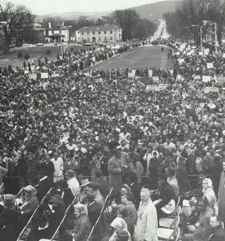 More than 10,000 people marched to the Kentucky State Capitol in Frankfort on March 5, 1964 calling for a state civil rights law, including Martin Luther King Jr. and Jackie Robinson. (Photo provided)