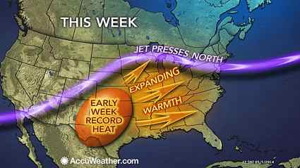 Summerlike Heat Scorches Central US And South But Avoids - Main map us