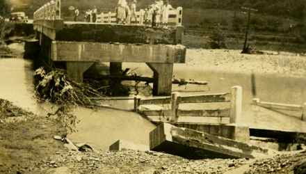 This bridge over the river was part of U.S. 60 and was destroyed in the 1939 flash flood to hit Rowan County. (Photo provided)