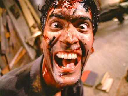 Bruce Campbell in  Evil Dead II (Photo from Wikimedia)