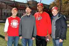 The film attempts to be as real as possible with actors, football players, directors and Travis Freeman himself. Pictured here, from left to right, are: Stephen Lang, who plays Coach Willard Farris; Travis Freeman; Football University Coach Mike Wilson; and Director/Co-Producer Dylan Baker, who also plays Larry Freeman in the film. (Photo from 23 Blast/Facebook)