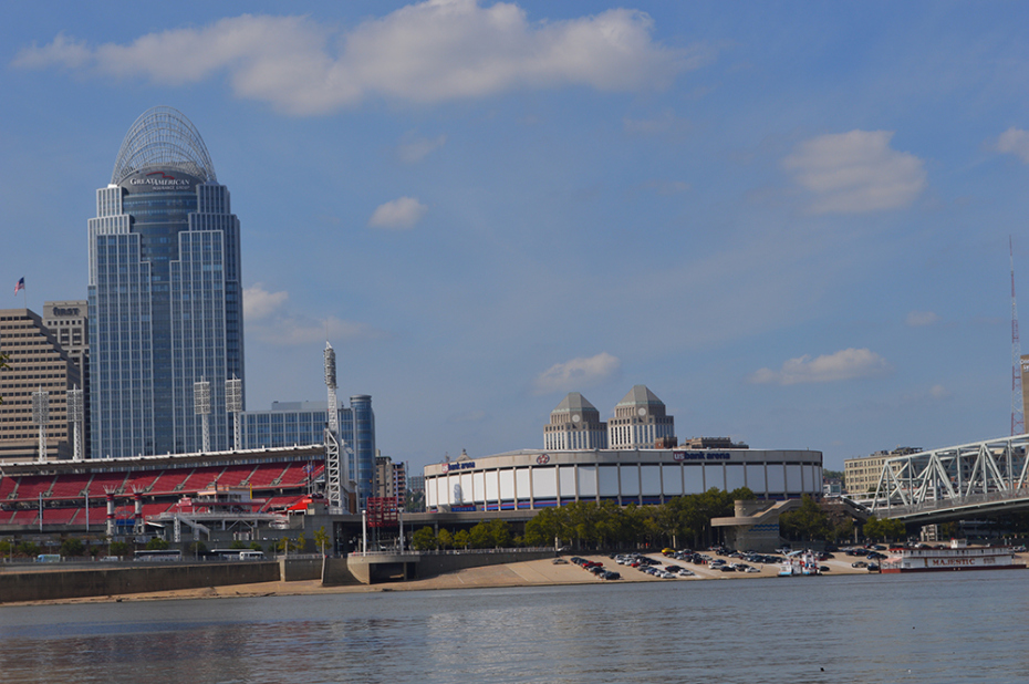View of the Cincinnati skyline from the Licking River, which enters the much larger Ohio River directly opposite the Queen City. The scene put a dramatic exclamation point on a journey that had begun in the Eastern Kentucky town of West Liberty. (Photo By Andy Mead)