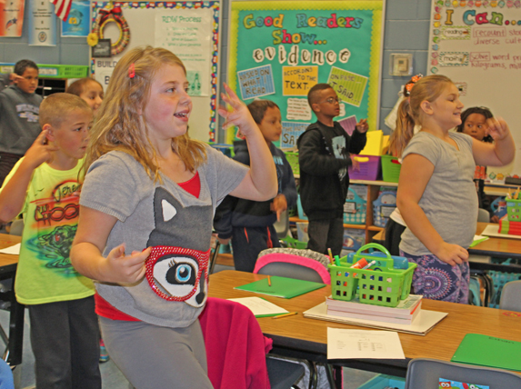 The third-graders also learned new vocabulary while acting out words.