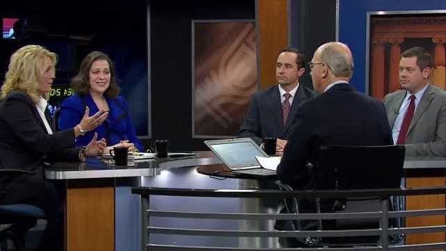 State lawmakers appearing on Kentucky Tonight were, from left, Sen. Robin Webb (D-Grayson), Rep. Tanya Pulllin (D-South Shore), Sen. Chris McDaniel (R-Taylor Mill) and Rep. Steven Rudy (R-Paducah). (KET photo)