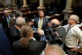 Senate Majority Floor Leader Damon Thayer, R-Georgetown, speaks to reporters about a bill affecting the Kentucky Horse Park during a recess period in the Kentucky Senate (LRC Public Information Photo)