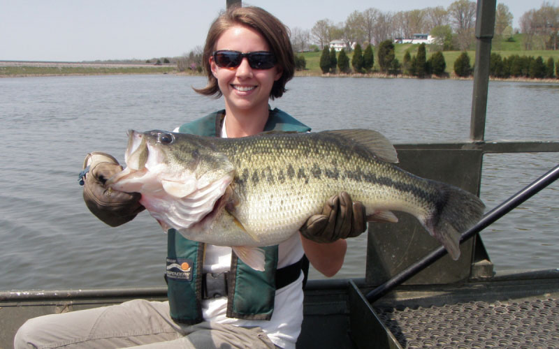 Stephanie Brandt, fisheries biologist for the Kentucky Department of Fish and Wildlife Resources, holds a largemouth bass captured during population sampling on 96-acre Corinth Lake in Grant County (F&W Photo)