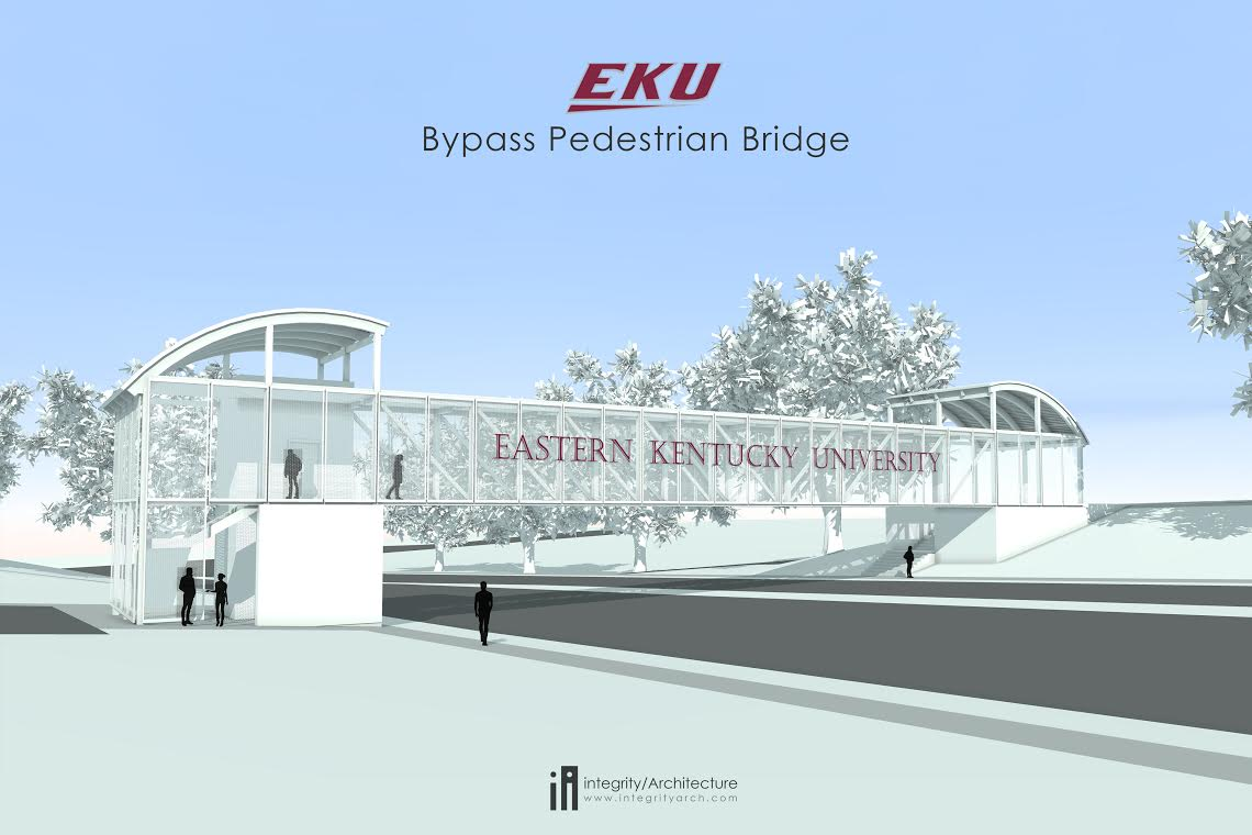 A new pedestrian gateway, Turner Gate, and adjacent Carloftis Gardens near the intersection of Lancaster Avenue and Barnes Mill Road, is under construction (EKU Image)