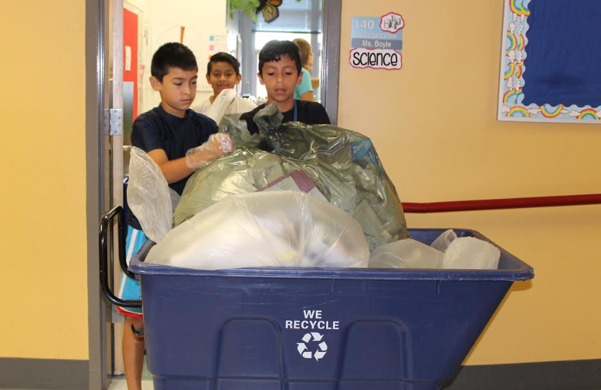 The recycling team takes out the recyclables for the entire building on Wednesdays (Photo Provided)
