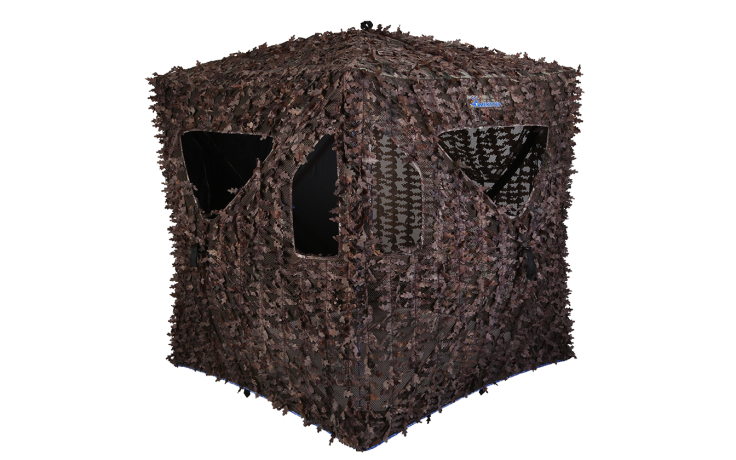 """The Arcane ground blind in the Realtree Xtra camouflage pattern has been called """"one big ghillie suit you can sit in,"""" because of its leafy exterior (Photo Provided)"""