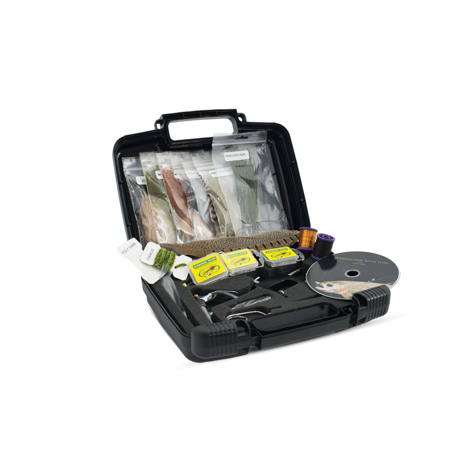 The Scientific Anglers Deluxe Fly Tying Kit includes all the tools to get started, plus an instructional DVD -- fly-tying vise, bobbin and threader, bodkin, hackle pliers and scissors, hooks, thread, tinsel, wire, dubbing, hackle feathers and marabou, in a hard plastic, foam-lined travel case (Photos Provided)