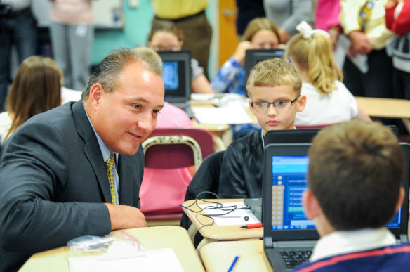 Henry Webb, superintendent of Floyd County schools, talks to students at May Valley Elementary. Webb, who emphasizes the importance of focusing on every child in the district, was named 2016 Superintendent of the Year by the Kentucky Association of School Administrators (Photo Submitted)