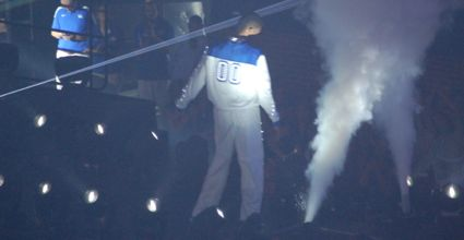 Kentucky forward Marcus Lee dances at Big Blue Madness on Friday. | Photo by James Pennington