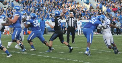 Kentucky quarterback Reese Phillips, seen here in the spring game in April, is the emergency backup if Jalen Whitlow and Maxwell Smith are hurt. (Photo by Jon Hale)