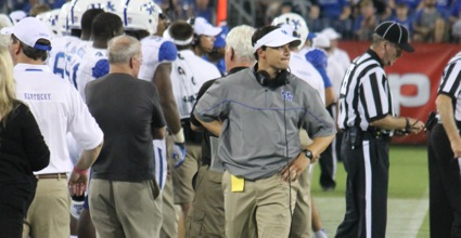 Kentucky offensive coordinator Neal Brown has a handful of factors working against him in preparing for Saturday's game against No. 8 Missouri. (Photo by Jon Hale)