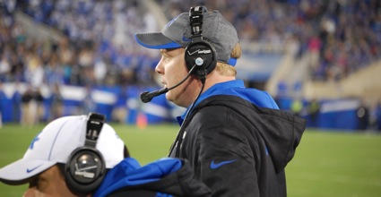Kentucky coach Mark Stoops finished his first season as teh Wildcats' coach with a 2-10, which the Wildcats' XX-XX loss to Tennessee finalized Saturday. (Photo by James Pennington)