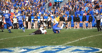 Kentucky quarterback Jalen Whitlow was hit in the second quarter of the Wildcats' XX-X loss to Missouri on Saturday. (Photo by James Pennington)