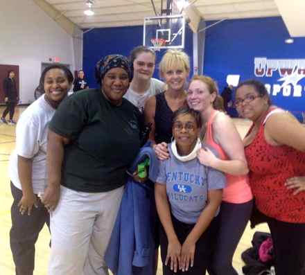 "Many of the young mothers at Step By Step expressed an interest in exercise, so the organization partnered with Immanuel Baptist in Lexington for its Zumba classes. The church provides free childcare with the moms exercise. ""Tonight, a few of us got our picture taken with our instructor, Kelly. I am so proud of these moms!"" wrote program director Tanya Torp. (Photo from Step By Step)"