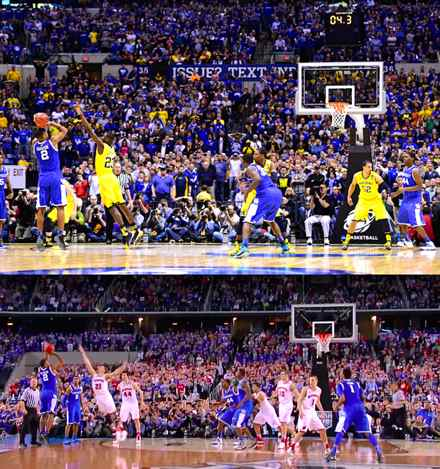 UK defeats Michigan on top and UK defeats Wisconsin on bottom. (Photo from CBS Sports.com)