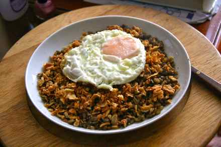 Mujaddara is a popular Middle Eastern dish of lentils, fried onions, spices and rice. This is a customized version made with a fried egg on top. It is commonly served with plain yogurt or a garnish of diced tomatoes, parsley and lemon juice. (Photo from Wikimedia Commons)
