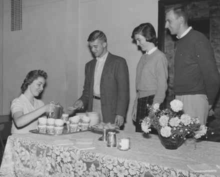 Another historic photo from UK shows students enjoying a tea party held at the Student Union Building in 1957. (Photo from UK)