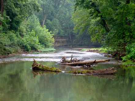 <>small>This is the West Fork of Drakes Creek downstream of the Sadler Ford Road bridge access. This gorgeous stream flows through Simpson and Warren counties in southern Kentucky and provides excellent fishing for smallmouth bass. (Photo from F&W)