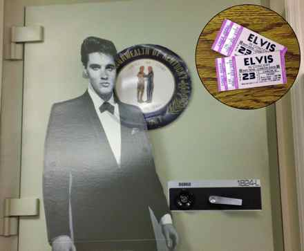 Elvis in ghostly form is spotted near the door of the Kentucky Treasury vault. Was he looking for the unused tickets to a concert in Rupp Arena he never played? (Photo provided)
