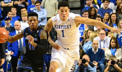 Freshman guard Devin Booker got off to a slow start this season, but he is shooting about 75 percent over his last three games (Jamie Vaught Photo),