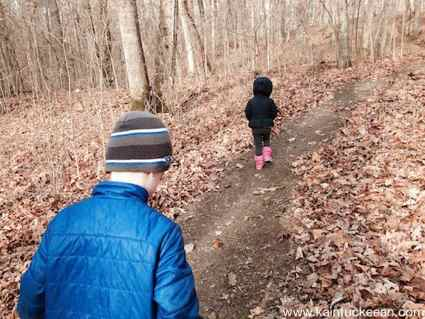 The author's children, ages 6 and 3, walking the trails at Dupree Preserve. (Author's collection)