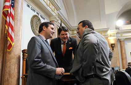 From left, Rep. Denver Butler, D-Louisville, House Speaker Greg Stumbo, D-Prestonsburg, and Rep. Dean Schamore, D-Hardinsburg, confer in the Kentucky House of Representatives. (Photo from LRC Public Information)