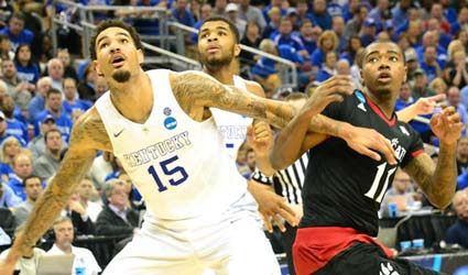 Willie Cauley_Stein had a monster dunk to spark a Kentucky run that led to a NCAA win over Cincinnati, giving the Cats a record 36-0 record (Jamie Vaught Photo)