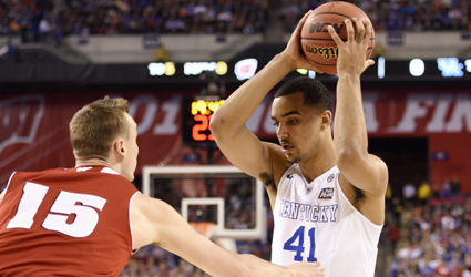 Trey Lyles looks for an opening against Wisconsin in the NCAA semifinal round Saturday (UK Athletics Photo/Bob Donnan-USA TODAY)