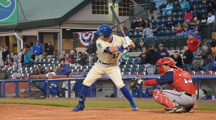 Lexington Legends first baseman Ryan O'Hearn led all Kansas City minor leaguers in batting average last year and he is the top home run hitter in the South Atlantic League this season (Erin Grigson Photo)