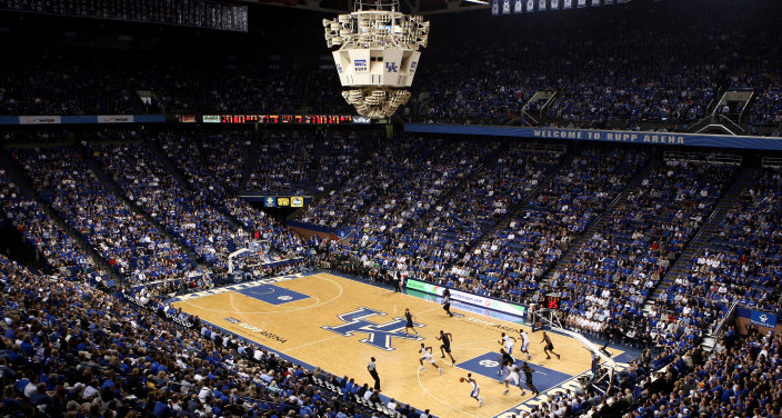 A $15 million technology and roof upgrade for Rupp Arena will include replacing the center-hung sound system with a new video and scoreboard (UK Athletics Photo)