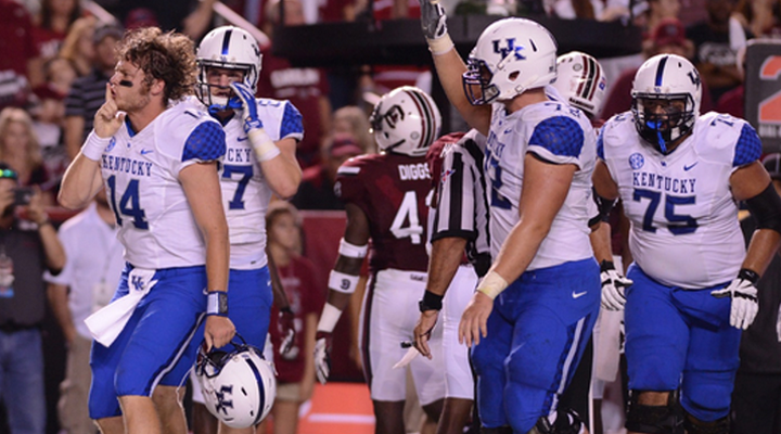 Patrick Towles and his UK teammates celebrated after snapping a 22-game road losing streak with a win at South Carolina (UK Athletics Photo)