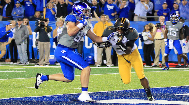 Kentucky tight end C.J. Conrad scores his first collegiate touchdown in the Wildcats' 21-13 win over Missouri last week. The Wildcats host Eastern Kentucky Saturday at Commonwealth Stadium (Photo by Tammie Brown)