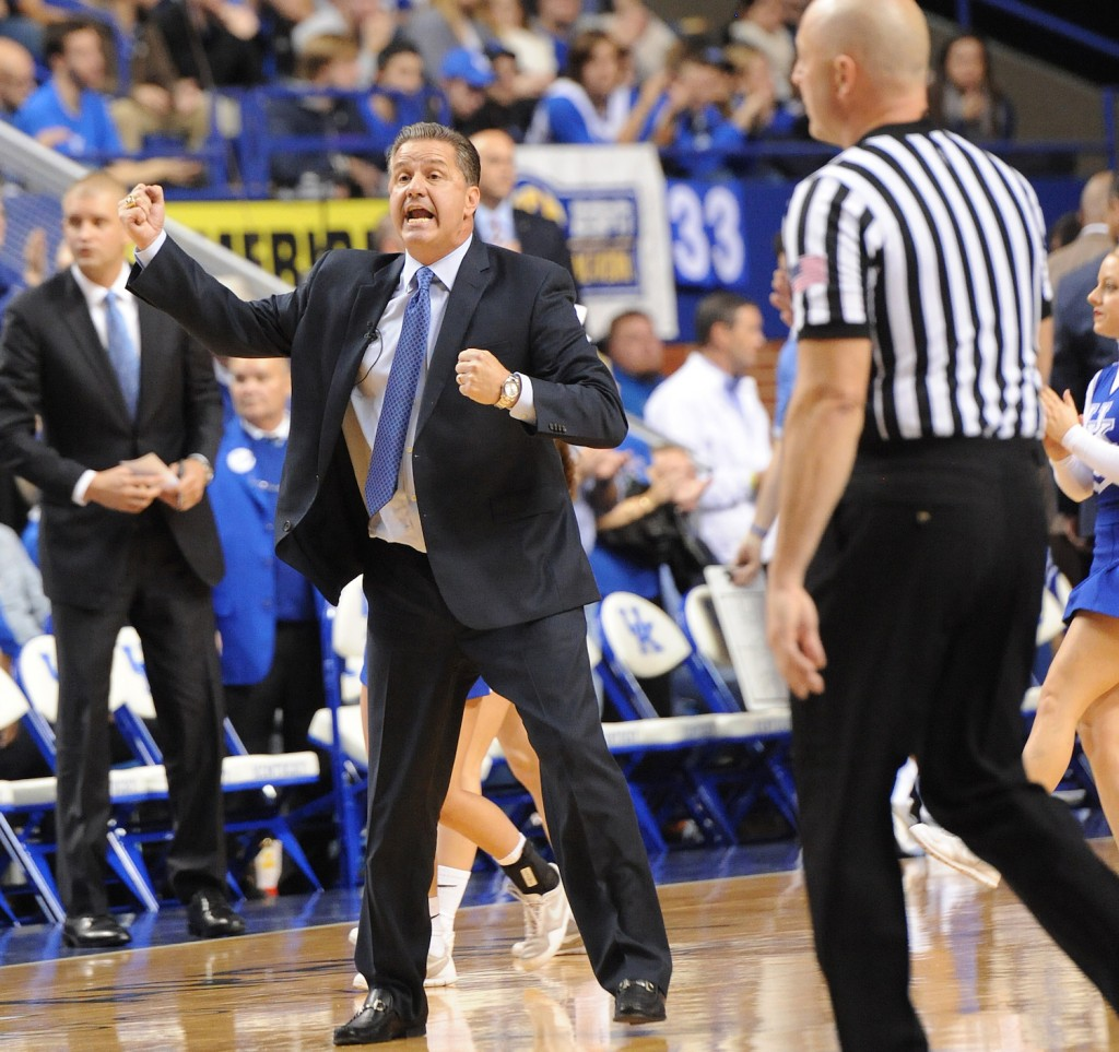 Kentucky coach John Calipari is seeking more grit and toughness from his team after a 78-65 win over Albany to open the season (Bill Thiry Photo) </small)