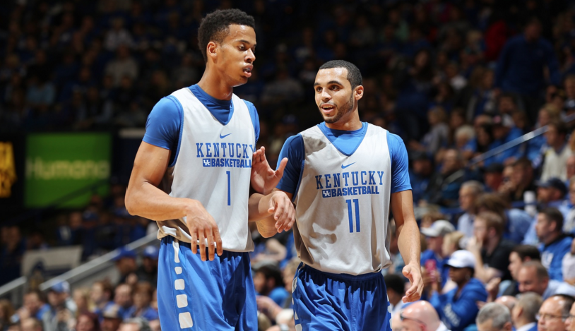 While freshman Skal Labissiere (left) will play the post for Kentucky, 6-4 junior Mychal Mulder, a transfer from Vincennes University, expects to be a threat from long range (UK Athletics Photo)