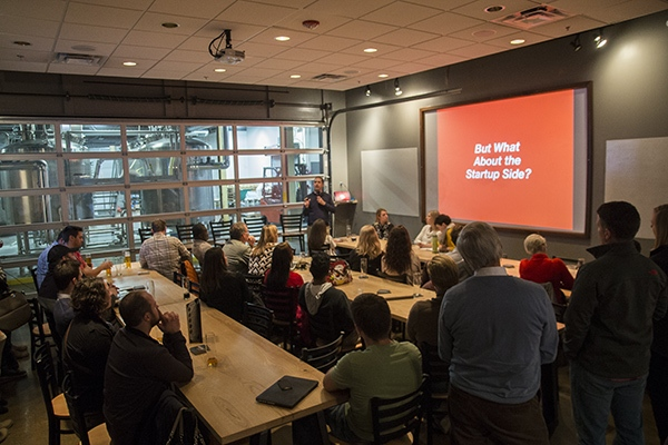 Brandery co-founder Dave Knox leads a discussion on startup resources at Braxton Brewing