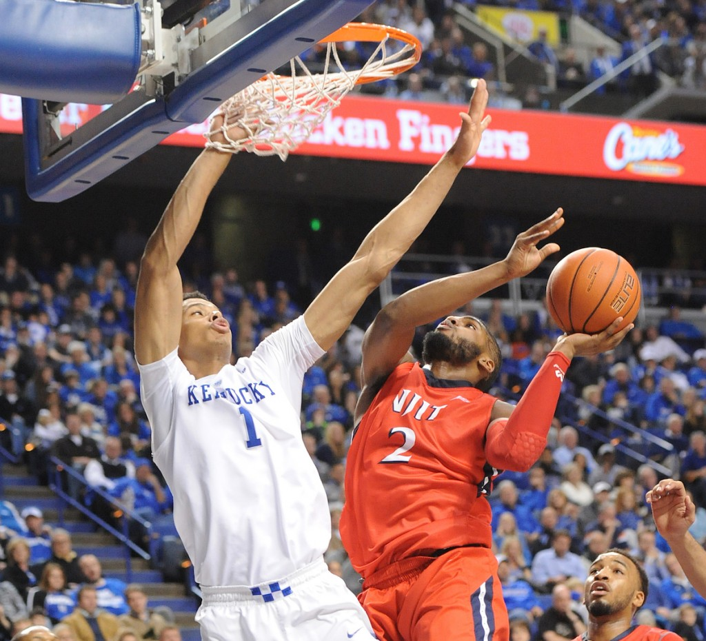 Kentucky's Skal Labissiere goes up for a block in a win over NJIT last weekend. The second-ranked Wildcats play the Duke Blue Devils tonight in the State Farm Champions Classic in Chicago (Bill Thiry Photo)