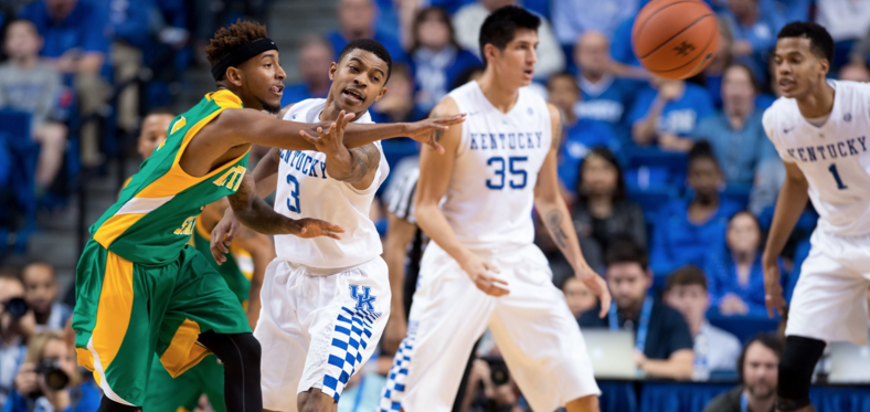 Nine of the SEC's 14 teams were represented among the two preseason all-league teams, but Kentucky doubled the picks of any other school. Tyler Ulis and Skal Labissiere were first team choices (UK Athletics Photo)
