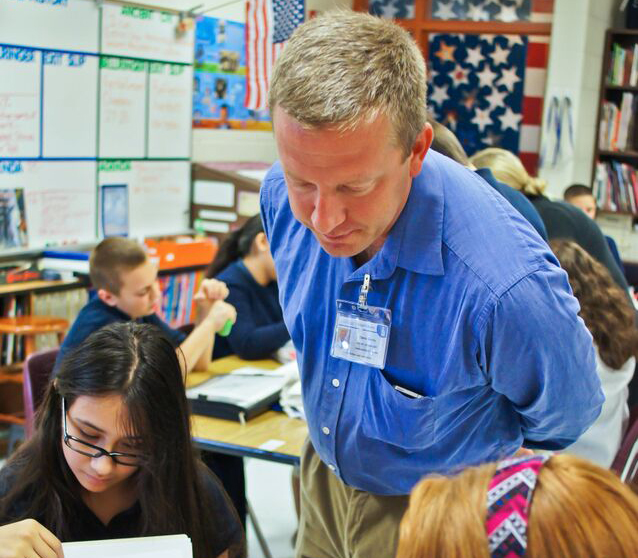 Retired Sgt. First Class David Gentry student teaching at Carter G. Woodson Academy in Lexington (UKNow photo by Beth Goins)