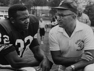 Blanton Collier chats with Jim Brown during the 1960s