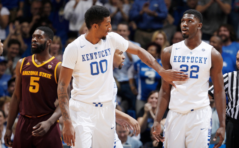 With freshman Skal Labissiere continuing to struggle to score and rebound, John Calipari is relying on Marcus Lee and Alex Poythress to provide an inside presence (UK Athletics Photo)