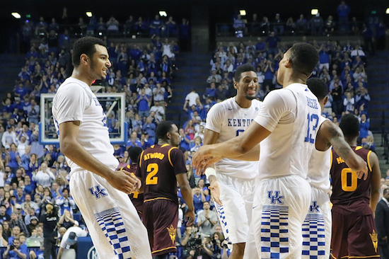 Jamal Murray, Marcus Lee and Isaiah Briscoe are all smiles after UK's win over Arizona State Saturday (Regina Rickert Photo)