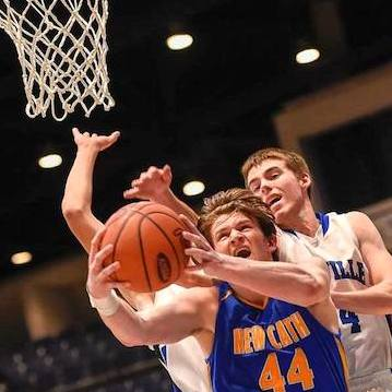 Ben Weyer of NewCath takes the ball to the basket against Danville in the All-A Classic in Frankfort  (Photo by Jackson Sports Photography)