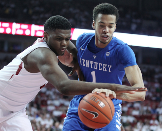 Skal Labissiere scored 11 points in UK's win at Arkansas Thursday night (UK Athletics Photo)