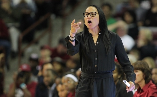 Head coach Dawn Staley will lead her unbeaten South Carolina Gamecocks against Matthew Mitchell and No. 9 Kentucky (13-1) Thursday night in a huge SEC showdown featuring two of the nation's best young coaches at Memorial Coliseum (SC Athletics Photo)