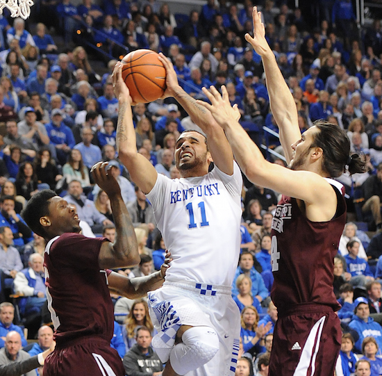 Mychal Mulder and the Wildcats take on Arkansas Thursday night in Fayetteville (Bill Thiry Photo)